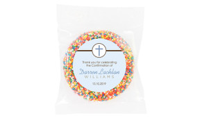 Cross On Blue Personalised Confirmation Chocolate Freckle