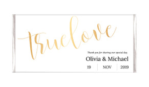 True Love In Gold Personalised Wedding Chocolates