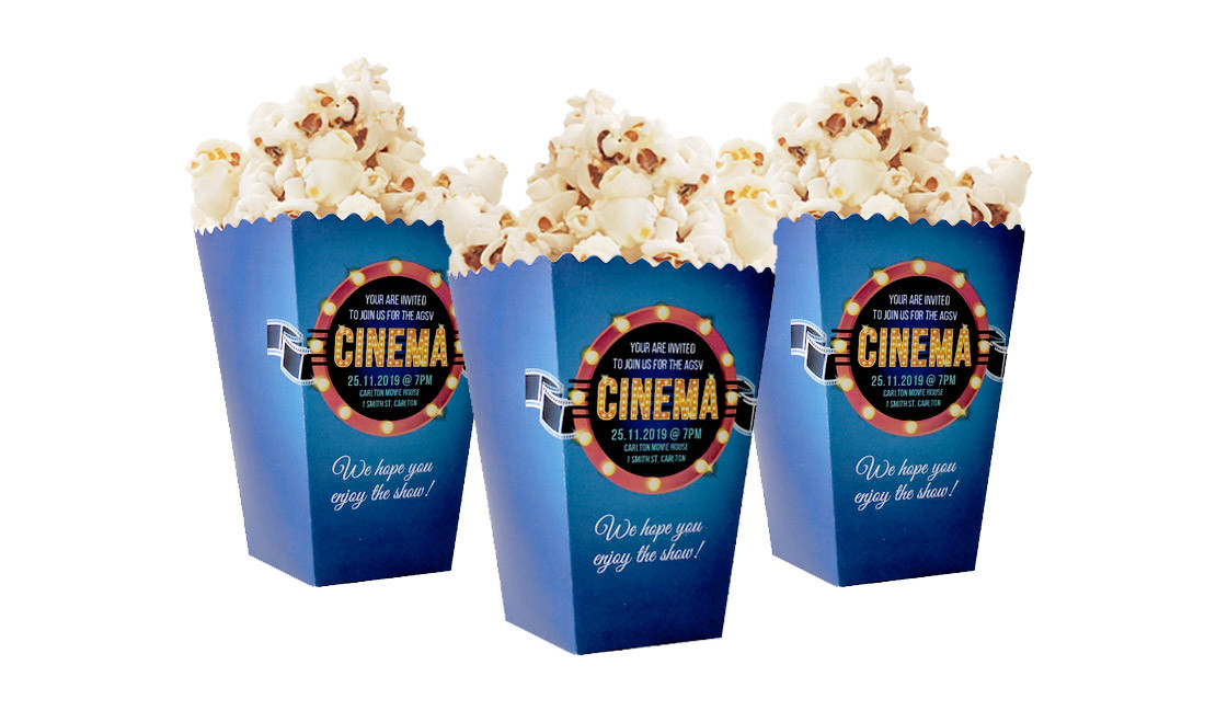 Personalised 10cm Pop Corn Box With Pop Corn