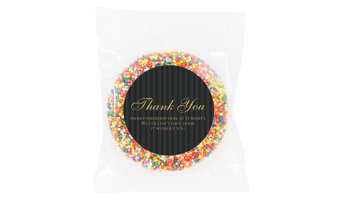 Pin Stripe Personalised Thank You Chocolate Freckle