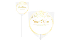 Gold Confetti Personalised Thank You Lollipop