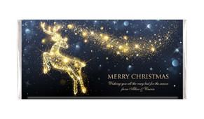 Glowing Reindeer Personalised Christmas Chocolate Bar