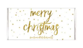 Gold Confetti Stars Personalised Christmas Chocolate Bar