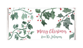 Holly In Water Colour Personalised Christmas Chocolate Bar