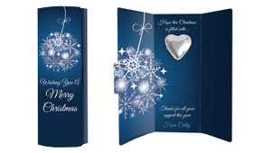 Blue Ornament Personalised Chocolate Christmas Card