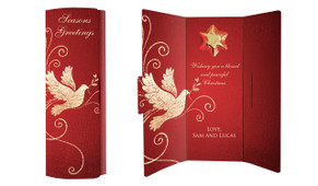 Dove In Gold Personalised Chocolate Christmas Card