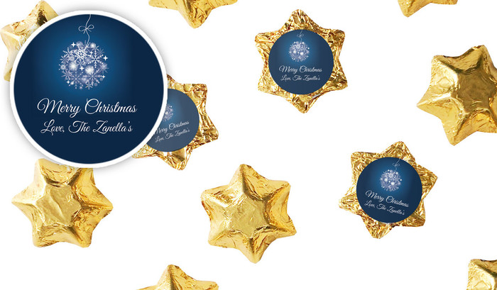 Blue Ornament Christmas Personalised Chocolate Stars