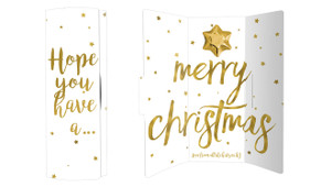 Gold Confetti Stars Personalised Chocolate Christmas Card