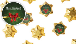 Christmas Bow Personalised Christmas Chocolate Stars
