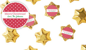 Red Polkadot Personalised Christmas Chocolate Stars