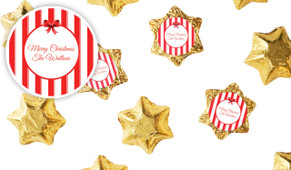 Stripes In Red Personalised Christmas Chocolate Stars