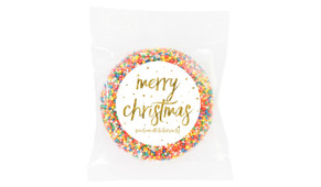 Gold Confetti Stars Christmas Personalised Chocolate Freckle