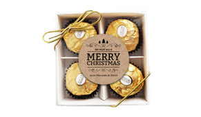 Merry Christmas On Kraft Ferrero Rocher Gift Box