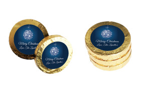 Blue Ornament Christmas Gold Coins