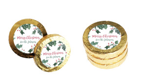 Holly Watercolour Christmas Gold Coins