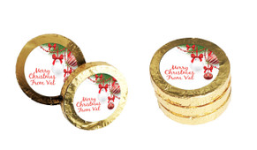 White Baubles Christmas Gold Coins
