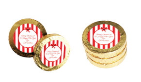 Stripes In Red Christmas Gold Coins