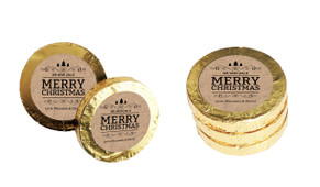 Merry Christmas On Kraft Christmas Gold Coins