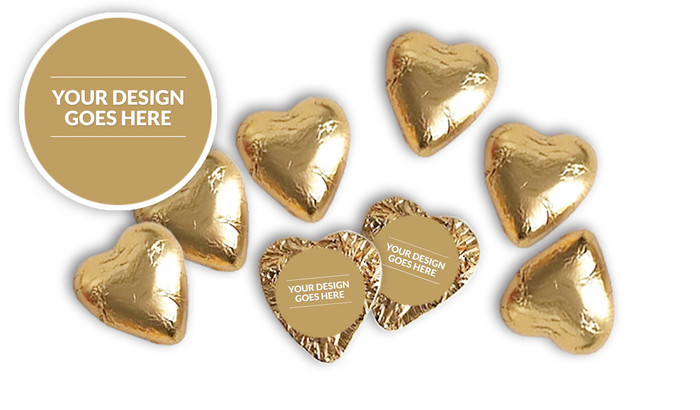 Use Your Own Design Foil Chocolate Hearts