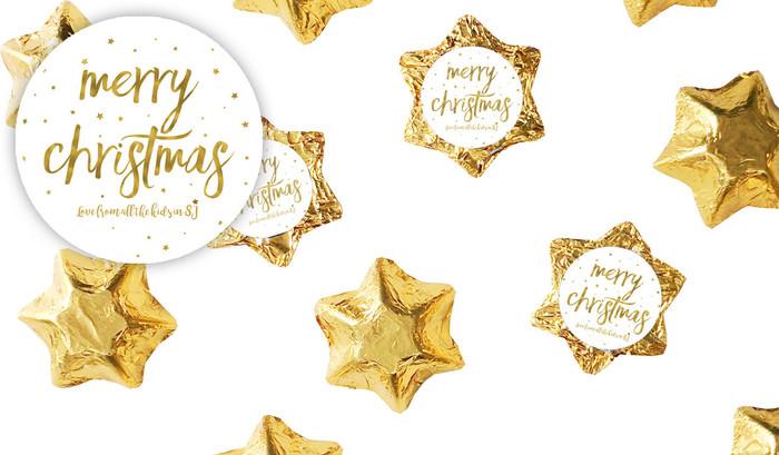 Gold Confetti Stars Christmas Chocolate Stars