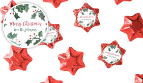 Holly Watercolour Christmas Chocolate Stars
