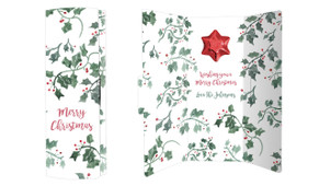 Holly Watercolour Personalised Chocolate Christmas Card