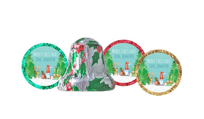 A Watercolour Christmas Foil-Covered Chocolate Bells