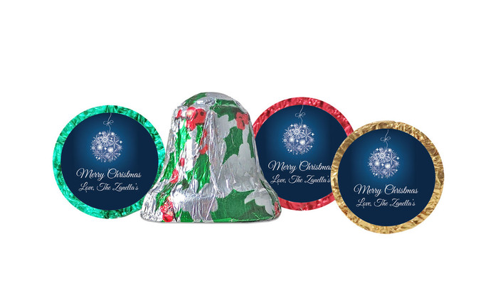 Blue Ornament Foil-Covered Chocolate Bells