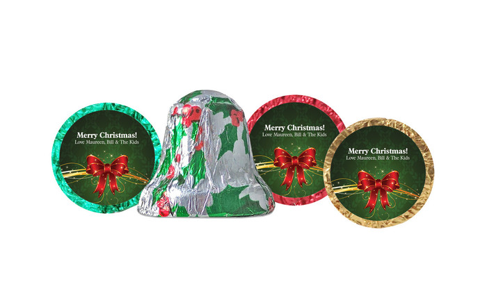 Christmas Bow Foil-Covered Chocolate Bells