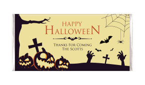 Graveyard Pumpkins Halloween Personalised Chocolates Bar