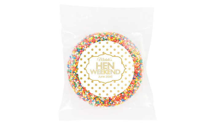 Gold Polkadot Hens Night Chocolate Freckle