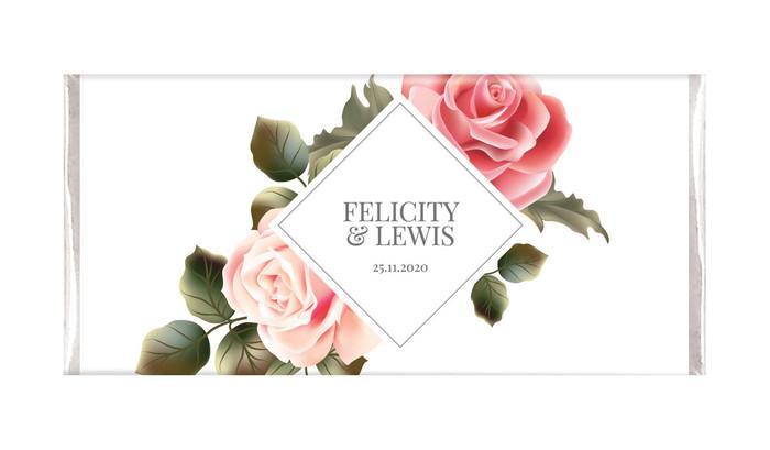 Elegant Rose Diamond Personalised Chocolate Bar