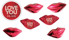 Glowing Love You Foil Chocolate Lips