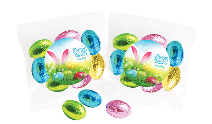 Bunny In The Meadow Personalised Bag Of Easter Eggs