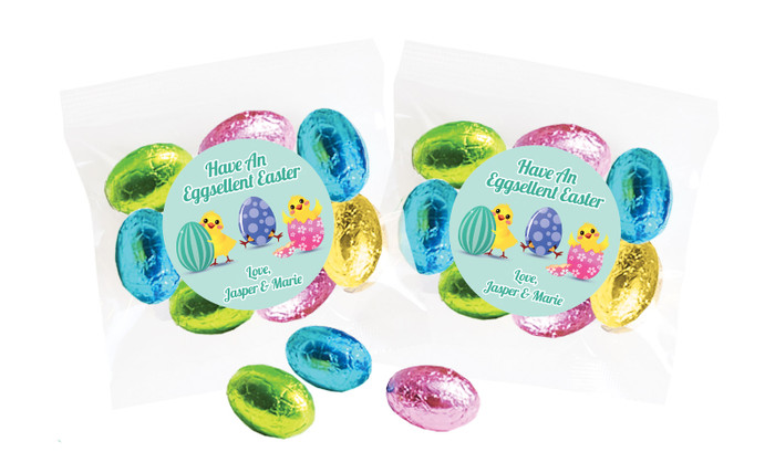 Chickens Hatching Personalised Bag Of Easter Eggs