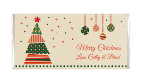 Abstract Tree Personalised Christmas Chocolate Bar