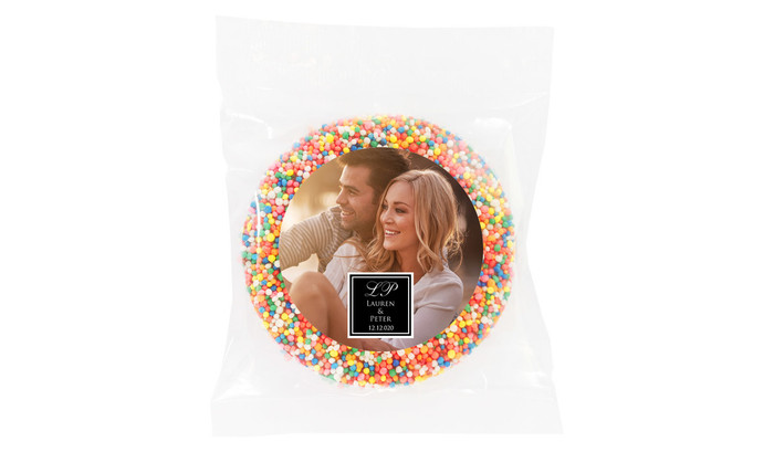 A Photo With Square Personalised Giant Chocolate Freckle