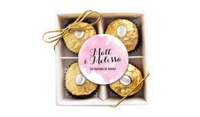A Splash Of Watercolour Pink Wedding Ferrero Rocher Gift Box