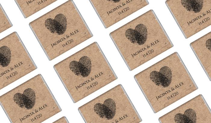 Fingerprint Heart On Kraft Wedding Mini Chocolates