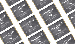 Flowing Text Chalkboard Wedding Mini Chocolates