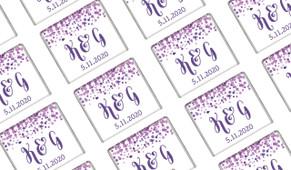 Purple Confetti Wedding Mini Chocolates