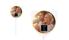 A Photo And Square Personalised Wedding Lollipops