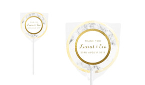 Marble& Gold Personalised Wedding Lollipops