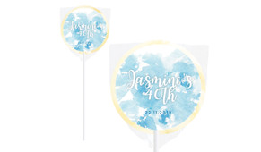 Misty Blue Floral Personalised Lollipops