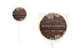 Old Wood & Lace Personalised Wedding Lollipops