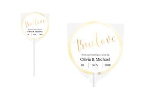 True Love In Gold Personalised Wedding Lollipops