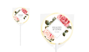 Rose Diamond Personalised Wedding Lollipops