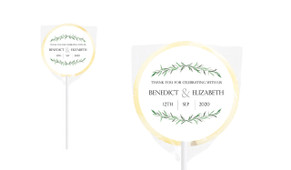 Green Branches Personalised Wedding Lollipops