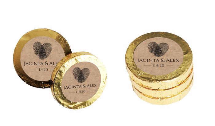 Fingerprint Heart On Kraft Personalised Chocolate Coins