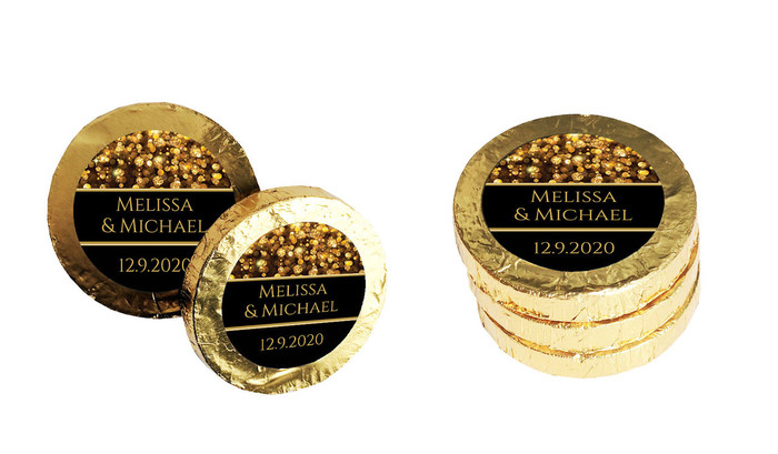 Gold Bokeh Personalised Chocolate Coins